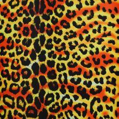 Psycho Flo Orange & Hunter | Printed Lycra Fabric | Printed Fabric | Stretch Fabric | Funki Fabrics | Animal Print