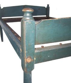 Early 19th century blue painted rope bed