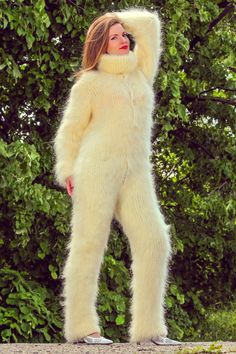 Ivory fluffy bodysuit white hand knit mohair sweater fuzzy overall catsuit SALE Mohair Yarn, Mohair Sweater, Catsuit, Icelandic Sweaters, Shawls And Wraps, S Models, Summer Collection, Hand Knitting