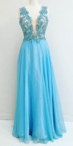 Blue Appliques V-Neck A-line Chiffon Prom Dresses