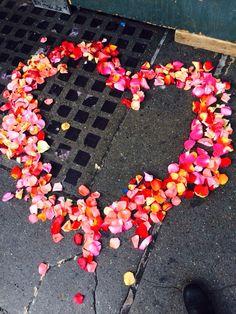 Lovely flower petal heart near pike place/Seattle.