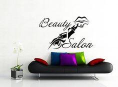 Wall Decals Beauty Hair Salon Barbershop Fashion Girl Woman Eye Lips Haircut Vinyl Sticker Wall Decor Murals Wall Decal: Amazon.co.uk: Kitchen & Home