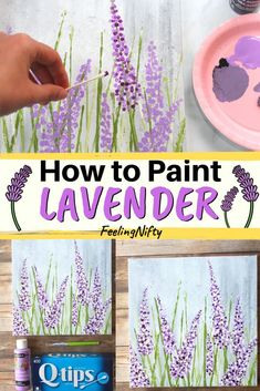How to Paint Lavender Flower in Acrylics For Beginners Learn Acrylics Series Create this beautiful DIY lavender fields painting on canvas that you can use in your home d. Easy Flower Painting, Acrylic Painting Flowers, Simple Acrylic Paintings, Plant Painting, Easy Paintings, Acrylic Art, Acrylic Paint On Canvas, Flowers On Canvas, How To Paint Canvas