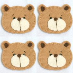 Set of 4 Handmade Pet Felt Applique Cute Bear by BebeBoulevard, $7.00