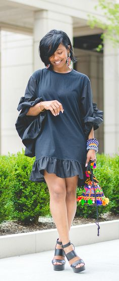 Black Dress, Ruffle Dress, All Black Outfit Idea, Sweenee Style, Summer Dress, Summer Outfit Ideas, Ruffles, Indianapolis style blog
