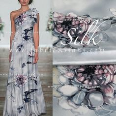Grey Silk Fabric. Big Flowers Silk Charmeuse von fabricAsians