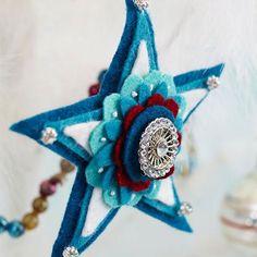 décoration-sapin-Noël-ornements-feutre-étoile-bleue-bijou décoration sapin de Noël