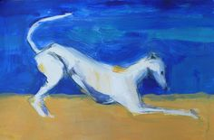 Greyhound at the beach, mixed media on paper, approx. 27 x 39 cm, www.arte-canino.de