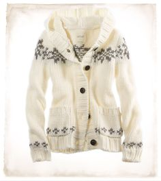 Aerie Fair Isle Hooded Cardi