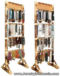 Bamboo Necklace Stands. Necklace Holders from Bamboo Jewelry Displays Jewellery Stands Bali Indonesia