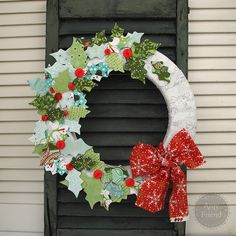 Blitzen Fabric Wreath made using a Sizzix die by Amy Friend, During Quiet Time