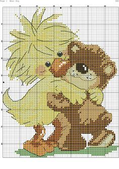 Bear Hug 1/2 Cross Stitch Owl, Butterfly Cross Stitch, Counted Cross Stitch Patterns, Cross Stitching, C2c Crochet, Fabric Painting, Flower Crafts, Needlework, Cartoon