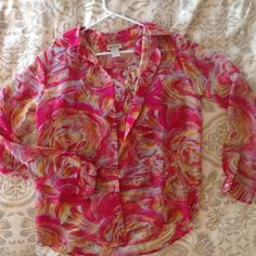 Two Piece Blouse Set (Retro Style) Sheer blouse with matching camisole. Camisole is pleated allowing for stretch and coverage. Can be worn together or separate. Colors are pink, orange, yellow. Nicola Tops Blouses