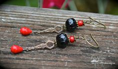 Art Deco Earrings in black and red by practicallyfrivolous on Etsy, $26.00
