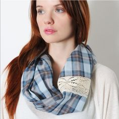 """Blue Country Infinity Scarf Size: 64"""" loop x 16.5""""                                                     Material: 100% Cotton with Lace trim and contrasting pattern on the inside. *Made in India* Knighbury Accessories Scarves & Wraps"""