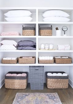 ideas linen closet remodel walk in for 2019 Linen Closet Organization, Bathroom Organisation, Closet Storage, Airing Cupboard Organisation, Household Organization, Attic Storage, Storage Organization, Storage Ideas, Bathroom Ideas