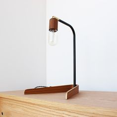 Handmade modern lighting and furniture - onefortythree Unique Lamps, Unique Lighting, Room Lamp, Desk Lamp, Table Lamps, Desk Light, Lamp Light, Edison Lamp, I Love Lamp