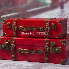 Barato Red casar caixa de noiva mala de couro do vintage 18 22 bagagem mala caixa de madeira, Compro Qualidade Maleta diretamente de fornecedores da China:   Detalhes do produto