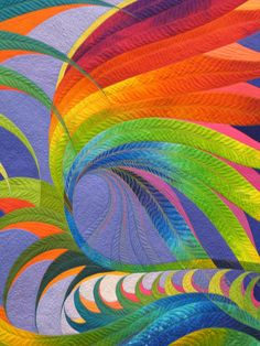 Feather Study #30, detail, by Caryl Bryer Fallert. Winner of 2009 AQS Machine Workmanship Award, Wall Quilt, via Flickr