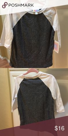 LuLaRoe Sloan size 2 NWT LuLaRoe Sloan size 2 heathered grey and white sleeves. Gender neutral. Never worn still has tags on it. LuLaRoe Shirts & Tops Tees - Short Sleeve