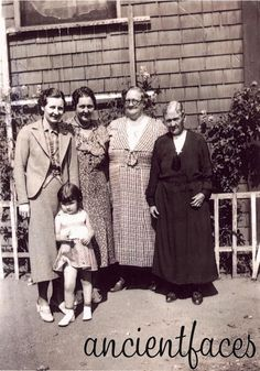 """Five generations of Hollingsworth women believed taken in Oakland, Ca.  People in this photo:  Hazel Hollingsworth, Hazel Hollingsworth, Lucy Ott, Helen Johnson, Joyce Hollingsworth at 3 years old.""  (Image:  Contributed by Shirley Patterson on September 22, 2001; ""Photo taken on 1936"")"