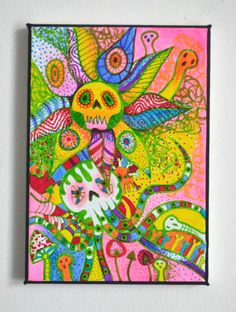 Original Bright Gothic Psychedelic Wall Art,Psychobilly Painting,Home Gift,Neon Cthulhu Wall Painting,Bats,Octopus,Skulls,Spooky Art Gift by ShelleyJamaineArt on Etsy