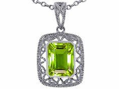 Star K Emerald Cut Genuine Peridot Pendant Necklace