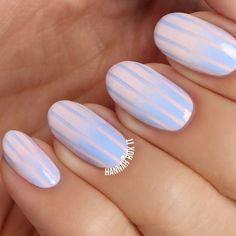 """822 Likes, 7 Comments - H A N N A H  R O X  N A I L S (@hannahroxit) on Instagram: """"New video! ✨LINK IN BIO✨to see how to do these pastel striped reverse gradient nails! """""""