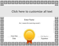 Award certificate template occupational therapy pinterest these free certificate templates can be used for any purpose you can customize the text yelopaper Images