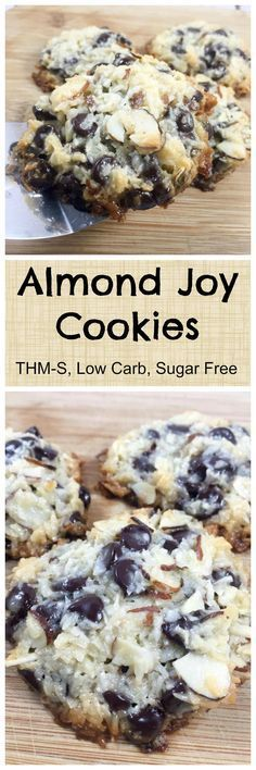 These low carb Almond Joy Cookies taste much like the traditional candy bar, but healthier! Sugar free sweetened condensed milk, coconut, almonds and stevia-sweetened chocolate chips make these keto Almond Joy Cookies shine! Sugar Free Desserts, Sugar Free Recipes, Low Carb Recipes, Dessert Recipes, Keto Desserts, Diabetic Recipes, Cookie Recipes, Diabetic Desserts Sugar Free Low Carb, Dessert Ideas