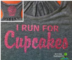 CUPCAKES Flowy Tank, 2-sided Sparkle Workout / Runner Racerback Tank, I Run For Cupcakes on Etsy, $24.00