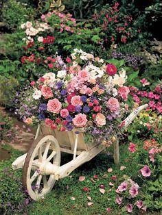 DIY Wooden Wheelbarrow Flower Planter