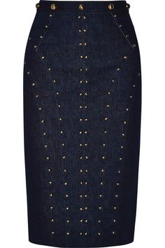 Tamara Mellon | Studded stretch-denim skirt | NET-A-PORTER.COM