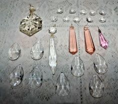 Vintage Pink & Clear Faceted Crystal Glass Chandelier Prism Bead Parts Lot