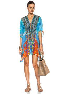 158322c92b Camilla, Short Lace Up Silk Caftan Camilla, Lace Shorts, Kaftan, Cover Up