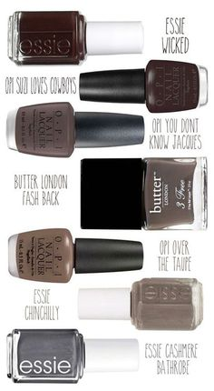 Best gray, taupe and brown nail polish colors! stylingmyeveryday… Best gray, taupe and brown nail polish colors! Brown Nail Polish, Fall Nail Polish, Brown Nails, Nail Polish Colors, Nail Polishes, Gray Polish, Polish Nails, Nail Colour, Gray Nails