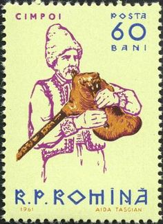 "~ Stamp No. 36: Romania ~ Scott Catalogue No. 1440  Another handsome stamp, which while not showing a lot of detail of the bagpipe has proportions and positions correct. The gaida in numerous variations is found throughout this part of the world, and is represented on our ""Bagpipes of the World"" CD album."
