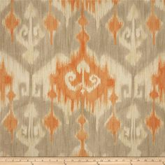 Richloom Marlena Ikat Orange from @fabricdotcom  Screen printed on cotton duck; this versatile, medium weight fabric is perfect for window accents (draperies, valances, curtains and swags), accent pillows, bed skirts, duvet covers, slipcovers, upholstery and other home decor accents. Create handbags, tote bags, aprons and more. Colors include shades of orange with stone and ivory.
