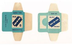 Vintage razor blade wrappers (via The Dieline) Vintage Packaging, Packaging Design, Vintage Graphic Design, Vintage Designs, Tumblr, Dollhouse Miniatures, Screen Shot, Minis, Advertising