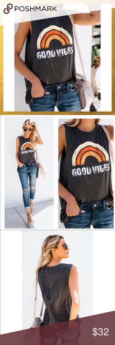 "🌅JUST IN!! GOOD VIBES SLEEVELESS TEE🌅 🌅Perfect tee for summer! Super soft, sleeveless and slightly oversized for a comfy but stylish fit. Color is charcoal gray with ""vintage"" style lettering.   🌅Material 95% Rayon 5% Spandex🌅 🌅Bundle & Save 20%🌅 Tops Tank Tops"