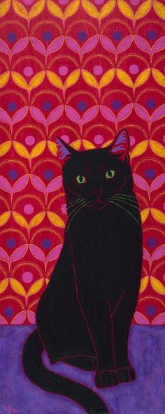 Black cat.  Beautiful background.