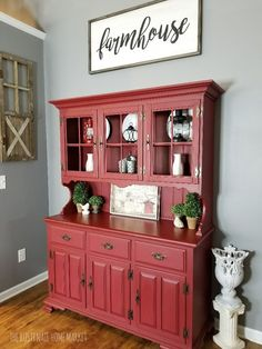 The Effective Pictures We Offer You About Hutch top repurposed A quality picture can tell you many things. You can find the most beautiful pictures that can be presented to you about entryway Hutch Chalk Paint Hutch, Red Chalk Paint, Painted Hutch, Red Painted Furniture, Paint Furniture, Distressed Furniture, Repurposed Furniture, Red Farmhouse, Modern Farmhouse Decor