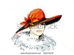 Watercolor Hat Painting | drawing of elegant woman in hat. watercolor painting - stock photo