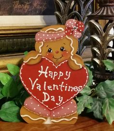 Hand Painted  Gingerbread with  Happy Valentines Day Heart  Shelf Sitter #HandPainted