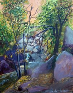 """Rocky Mountain Colors    This is the second series of paintings I've done on-the-spot at Cheyenne Canyon. This is a beautiful area just to the west of Colorado Springs where I live. I plan to many plein` air paintings from this spot.        Original Artwork Details:  11""""H x 14""""W    SOLD"""