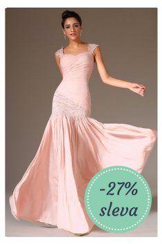 Růžové plesové šaty na ramínka