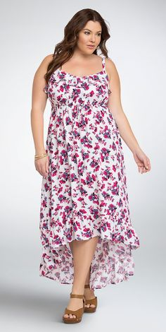 Plus Size Spring Dress - Plus Size Floral Ruffle Challis Maxi Dress