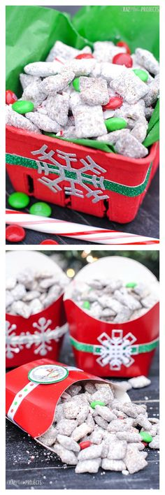 Chocolate Candy Cane Crunch Muddy Buddies recipe (& cute gift packaging ideas)