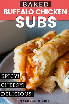 Baked Buffalo Chicken Subs: These have some of my favorite flavors and are easy to toss together either for dinner or for a hearty game day appetizer. Buffalo Chicken Sub Recipe, Chicken Subs, Buffalo Chicken Sandwiches, Chicken Sandwich Recipes, Cheesy Chicken, Spicy Recipes, Meat Recipes, Cooking Recipes, Dinner Recipes