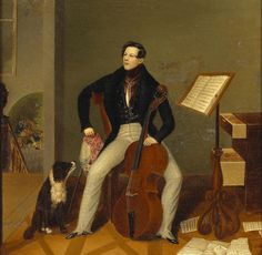 CELLO   English School (mid-19th century) A portrait of a gentleman in an interior holding a cello. - Pinterest